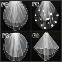 Kurzes reales Bild Hochzeitsschleier 2 Schicht Perlen Blumen Weiß Elfenbein Tüll Brautschleier Auf Lager Bridal Zubehör Anders Stil CPA033