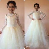 Princesa Branca Marfim Lace Mangas Compridas Organza Vestidos Da Menina de Flor 2016 Primavera Formal Crianças Vestidos de PAGAMENTO