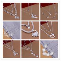 Moda venda quente novo estilo mix 9 pcs / lote muito bonito jóias baratas linda 925 esterlina prata diferente colar linda jóias