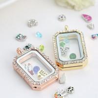 Charm Memory Medaillon Floating Rechteck Medaillon mit Diamanten von hoher Qualität transparentem Glas Bilderrahmen schwimmenden Charme Medaillons Anhänger