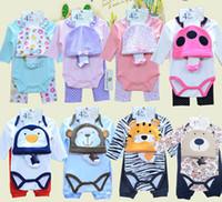 2016 Infants Baby Bodysuits Rompers Boys Girls Long Sleeve Bodysuits+pant+Hat+socks 4pcs Set Cotton Babys Clothing 8colors #3866