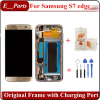 Para samsung galaxy s7 borda sm-g935f g935a g935v 935t display lcd touch screen digitador com moldura original e porta de carregamento original