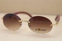 도매 선글라스 나무 안경 18K 골드 도금 프레임 나무 T8307003 큰 다이아몬드 안경 C 장식의 골드 FRAM 사이즈 선글라스 : 56-18-135mm