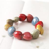 5 стили панк ткать браслеты высокое качество сердца квадратной и сплющенной формы небольшие керамические бусины браслет женские аксессуары регулируемая ювелирные изделия