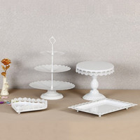 Metal Iron Cupcake Display Rack Resuable sin Cristal Postre Cake Stand para Boda Cumpleaños Party Decorations Holder Fashion 95ds BB