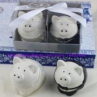 10sets Nouveau Couleur Noir et Blanc Couleur Piggy Broom Groom Pepper Shaker Shakers Shakers Faut Mariage Douche de mariée Cadeaux