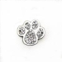 10 pz / lotto vendita calda cristallo cane zampa bottoni automatici fai da te 18mm snap bracciale bracciale ciondola gioielli fai da te snap