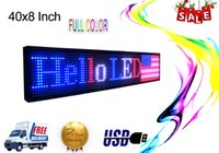 """LED علامة 40 """"× 8"""" برمجة داخلي P10 RGB كامل اللون SMD التمرير LED عرض الرسالة المجلس الحل المثالي للإعلان كن فاي"""