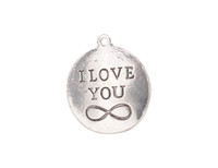 10 PCS 패션 앤티크드 실버 메탈 I LOVE YOU Infinity Charms # 92258