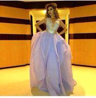 Vestido De Festa 2015 아랍 넘치는 목 레이스 주름 Organza 이브닝 드레스 Backless 파티 파티 가운 맞춤 제작 BO7153