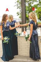 Sparkly Marineblau Pailletten Zweiteiler Brautjungfernkleider mit Ärmeln 2018 Country Style Custom Machen Hochzeitsgesellschaft Gast Junior Kleid Billig