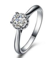 럭셔리 보석 1 Ct 소나 시뮬레이션 다이아몬드 약혼 반지, 솔리드 14 천개 화이트 골드 도금 결혼 반지, 실버 반지