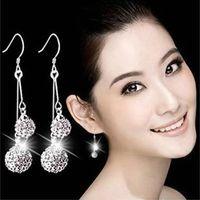 Grado superiore 925 penzolare orecchini per gli orecchini a sfera Shanballa donne di goccia di modo di trasporto libero di vendita al dettaglio di gioielli antiallergico - 0007WH