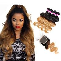 Ombre Hair Bundles With Closure Peruanische Blonde Bundles Peruanische Reine Menschenhaar Körperwelle Blonde Lace Closure Mit Bundles