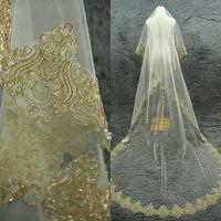 Bordas de Ouro Véu 1 Tier Catedral Véu Alencon Lace Veil Marfim Véu Custom 3 Metersl Acessórios Do Casamento Sem Comb frete grátis