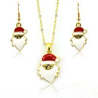 مجموعات المجوهرات العلامة التجارية الجديدة الأزياء سانتا كلوز المعلقات الذهب مطلي أقراط قلادة مجموعات للنساء مجوهرات عيد الميلاد