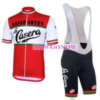 NOUVEAU 2017 maillot de cyclisme LA CASERA kit vélo vêtements porter bavoir shorts gel pad équitation VTT route ropa ciclismo cool NOWGONOW tour homme cool rouge
