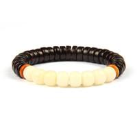 Neue Religiöse Schmuck Großhandel 10 teile / los Natürliche Daye Palisander Perlen Weiß Bodhi Samen Tibetischen Buddhistischen Handgemachten Meditation Gebet Armband