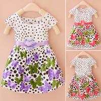 Девочки платья одежда лето 2015 дети новых девушек на идее два цветок Dot бабочка платье