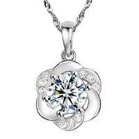 Freies Verschiffen romantische einfache kristallklare nette runde Blume Anhänger Halskette 925 Sterling Silber Schmuck