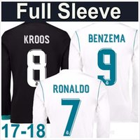 New 17 2018 Long sleeve Real Madrid home Soccer Jersey 17 18...