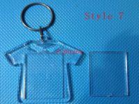 1000pcs / lot 무료 배송 최신 DIY 아크릴 빈 사진 키 체인 모양의 명확한 열쇠 고리 삽입 사진 플라스틱 Keyrings
