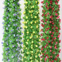 2.2m 공기 상태 수로 훈장 화환과 가정 장신구를 위한 인공적인 장미 꽃 등나무 포도 나무 꽃 등나무 실크 꽃 HH04
