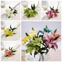 6 색 LILY BUNCH 인공 백합 가짜 실크 Posy 웨딩 꽃 부시 바구니 크리스마스 가짜 꽃 가정 장식 길이 57cm