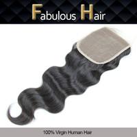 """Ucuz Dantel Kapatma Bakire Brezilyalı Vücut Dalga 5x5 """"İnsan Saç Ücretsiz Bölüm Üst Dantel Kapatma Parçaları ile Ağartılmış Knot 8-20 inç Saç Kapakları"""