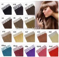 19 Цветов Индийская кожа для волос WEFT REMY Двусторонняя лента в наращивании человеческих волос 20 шт. / Лот