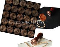 Regalo personalizzato Regalo romano sigillatura timbro di cera testa di rame per il timbro di tenuta in legno vintage set alfabeto A-Z