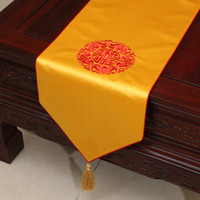 Luxury Embroidered Chinese Silk Satin Table Runner Wedding C...