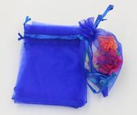 Caliente ! Royal Blue 7x9cm 9x11cm 13x18cm Bolsas de la bolsa de regalo de la joyería de la organza para los favores de la boda, cuentas, joyería (AB647)