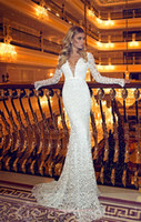 Lace Mermaid Long Sleeve Formal Evening Dresses V Neck Key Hole Backless Appliqued Sash Floor Length Mermaid Celebrity Party Gowns BO8313