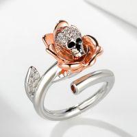 ornements de main, argent d'explosion, placage à l'or, anneau de zircon de crâne, anneau d'ouverture femelle de rose SKELETON FINGER RING