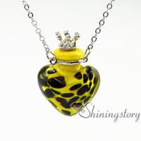 cuore piccolo profumo bottiglie olio essenziale collane aromaterapia diffusore pendente collane fiala di vetro pendente collana collo essenziale di olio essenziale