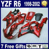 Fairings para Yamaha YZF600 98-02 Chamas pretas em Red Feeding Kit YZF R6 YZF-R6 1998 1999 2000 2001 2002 YZF600 VB94
