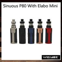 Wismec Sinuous P80 Mit Elabo Mini Kit 80 Watt SINUOUS P80 TC Box Mod 2 ml Elamo Mini Zerstäuber Versteckter Feuerknopf 100% Original