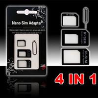4 in 1 Noosy Nano Micro Adapter SIM espelle il Pin per Iphone 5 per Iphone 4 4S 6 Samsung S4 S3 SIM scatola al minuto