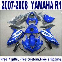 Set de carrocería de freeship para carenados YAMAHA YZF R1 07 08 azul nuevo kit de carenado de negro YZF-R1 2007 2008 YQ37