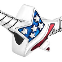 USA Flag Patriotic Stars and Stripes Bead Enamel Plated Silv...
