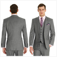 Light Grey Groom Tuxedos Two Buttons Notch Lapel Slim Fit Me...