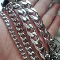"""Commercio all'ingrosso 24 """"5MM 8MM 13MM 15MM pesante freddo argento 316L in acciaio inossidabile uomini catena di collegamento Curb collana"""