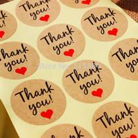 """Kraftpapier """"Danke"""" Klebeetikett mit rotem Herz, Durchmesser 38mm Seal Label Aufkleber für DIY Geschenk Dekoration und Kuchen backen Verpackung"""