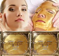 Venta al por menor máscara facial de colágeno de oro Nano Technology Máscara de cristal cuidado de la piel que blanquea mascarilla hidratante de colágeno con paquete inglés