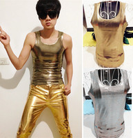 Men Gold Print Vest Shiny Silver Clothes Mens DJ Nightclub S...