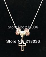 10 PCS Antiguidades Silvers Filigrana Cruz Crucifixo Charme Rosa Cristal Cobre Cobra Cadeia Colar Pingentes Para Mulheres DIY Jóias N2092