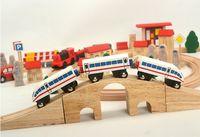 Modelo de tren de madera, juguete de coches, con pista y motor, inteligencia de bricolaje, mejorado, alta cantidad simulatio, niño regalo, recolección