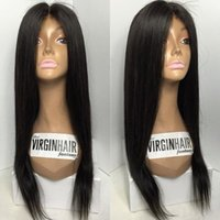 Straight Silk Base Lace Front Wigs Adjustable Pre Plucked Fu...