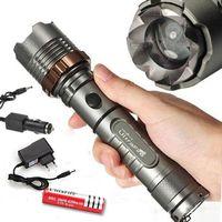 المشاعل 2000LM UltraFire CREE XML T6 LED القابلة لإعادة الشحن مصباح يدوي الشعلة شاحن AC + شاحن سيارة + 18650 بطارية